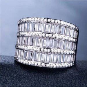 Jewelry - 925 Sterling Silver White Sapphire Wedding Ring